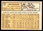1963 Topps #555  John Blanchard  Back Thumbnail