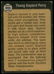 1973 Topps #346   -  Gaylord Perry  Boyhood Photo Back Thumbnail