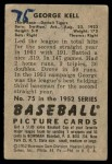 1952 Bowman #75  George Kell  Back Thumbnail