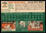 1954 Topps #48 WHT Billy Hunter  Back Thumbnail