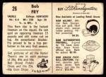 1959 Bell Brand Rams #26  Bob Fry  Back Thumbnail