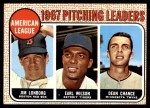 1968 Topps #10 ERR  -  Dean Chance / Jim Lonborg / Earl Wilson AL Pitching Leaders Front Thumbnail