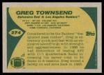 1989 Topps #274  Greg Townsend  Back Thumbnail