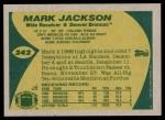 1989 Topps #242  Mark Jackson  Back Thumbnail