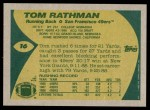 1989 Topps #16  Tom Rathman  Back Thumbnail