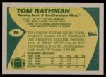 1989 Topps #16  Tom Rathman  Back Thumbnail