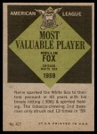 1961 Topps #477   -  Nellie Fox Most Valuable Player Back Thumbnail
