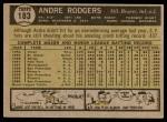 1961 Topps #183 ERR Andre Rodgers  Back Thumbnail