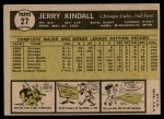 1961 Topps #27  Jerry Kindall  Back Thumbnail