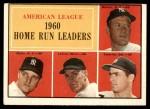 1961 Topps #44   -  Mickey Mantle / Roger Maris / Rocky Colavito / Jim Lemon AL HR Leaders Front Thumbnail