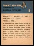 1962 Fleer #9   Tommy Addison  Back Thumbnail
