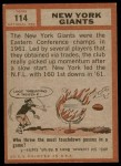 1962 Topps #114   Giants Team Back Thumbnail