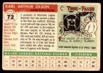 1955 Topps #72  Karl Olson  Back Thumbnail