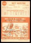 1963 Topps #142  Matt Hazeltine  Back Thumbnail