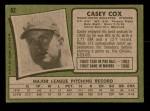 1971 Topps #82  Casey Cox  Back Thumbnail