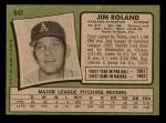 1971 Topps #642  Jim Roland  Back Thumbnail