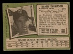 1971 Topps #127  Danny Thompson  Back Thumbnail
