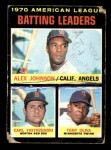 1971 Topps #61   -  Alex Johnson / Tony Oliva / Carl Yastrzemski AL Batting Leaders  Front Thumbnail