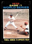 1971 Topps #327   -  Boog Powell / Johnny Bench 1970 World Series - Game #1 - Powell Homers to Opposite Field Front Thumbnail