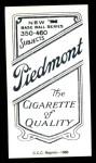 1909 T206 Reprint #160 FLD Kid Elberfeld  Back Thumbnail