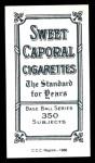 1909 T206 Reprint #34 POR Chief Bender  Back Thumbnail