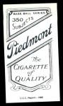 1909 T206 Reprint #28  Beals Becker  Back Thumbnail