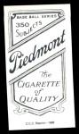 1909 T206 Reprint #385  Hub Perdue  Back Thumbnail