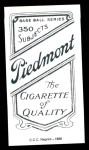 1909 T206 Reprint #290  Harry Lord  Back Thumbnail