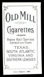 1909 T206 Reprint #259  Otto Knabe  Back Thumbnail