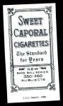 1909 T206 Reprint #226  Rudy Hulswitt  Back Thumbnail