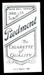 1909 T206 Reprint #524 GLV Cy Young  Back Thumbnail