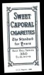 1909 T206 Reprint #438  Bud Sharpe  Back Thumbnail