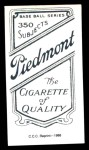 1909 T206 Reprint #390 THR Jack Pfiester  Back Thumbnail