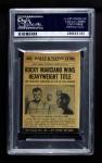 1954 Topps Scoop #65   -  Rocky Marciano KOs Walcott  Back Thumbnail