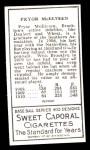 1911 T205 Reprint #129  Pryor McElveen  Back Thumbnail