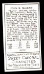 1911 T205 Reprint #133  Larry McLean  Back Thumbnail