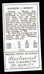 1911 T205 Reprint #140  Pat Moran  Back Thumbnail