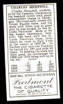 1911 T205 Reprint #88  Charlie Hemphill  Back Thumbnail