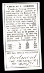 1911 T205 Reprint #89  Buck Herzog  Back Thumbnail