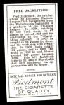 1911 T205 Reprint #94  Fred Jacklitsch  Back Thumbnail
