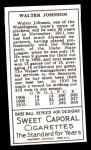 1911 T205 Reprint #96  Walter Johnson  Back Thumbnail