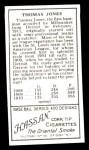 1911 T205 Reprint #98  Tom Jones  Back Thumbnail