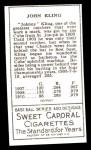 1911 T205 Reprint #103  John Kling  Back Thumbnail