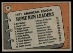 1972 Topps #90   -  Reggie Jackson / Norm Cash / Bill Melton AL HR Leaders  Back Thumbnail