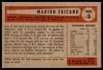 1954 Bowman #3  Marion Fricano  Back Thumbnail