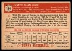 1952 Topps #154 CRM Joe Muir  Back Thumbnail