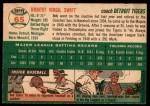 1954 Topps #65  Bob Swift  Back Thumbnail