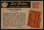 1955 Bowman #163  Sid Gordon  Back Thumbnail