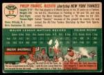 1954 Topps #17 WHT Phil Rizzuto  Back Thumbnail