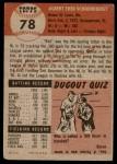 1953 Topps #78  Al  Red  Schoendienst  Back Thumbnail